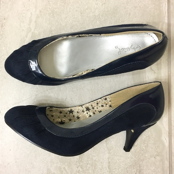 d1b1b8016ee Qupid Orsen Navy Blue Retro Kitten Heels